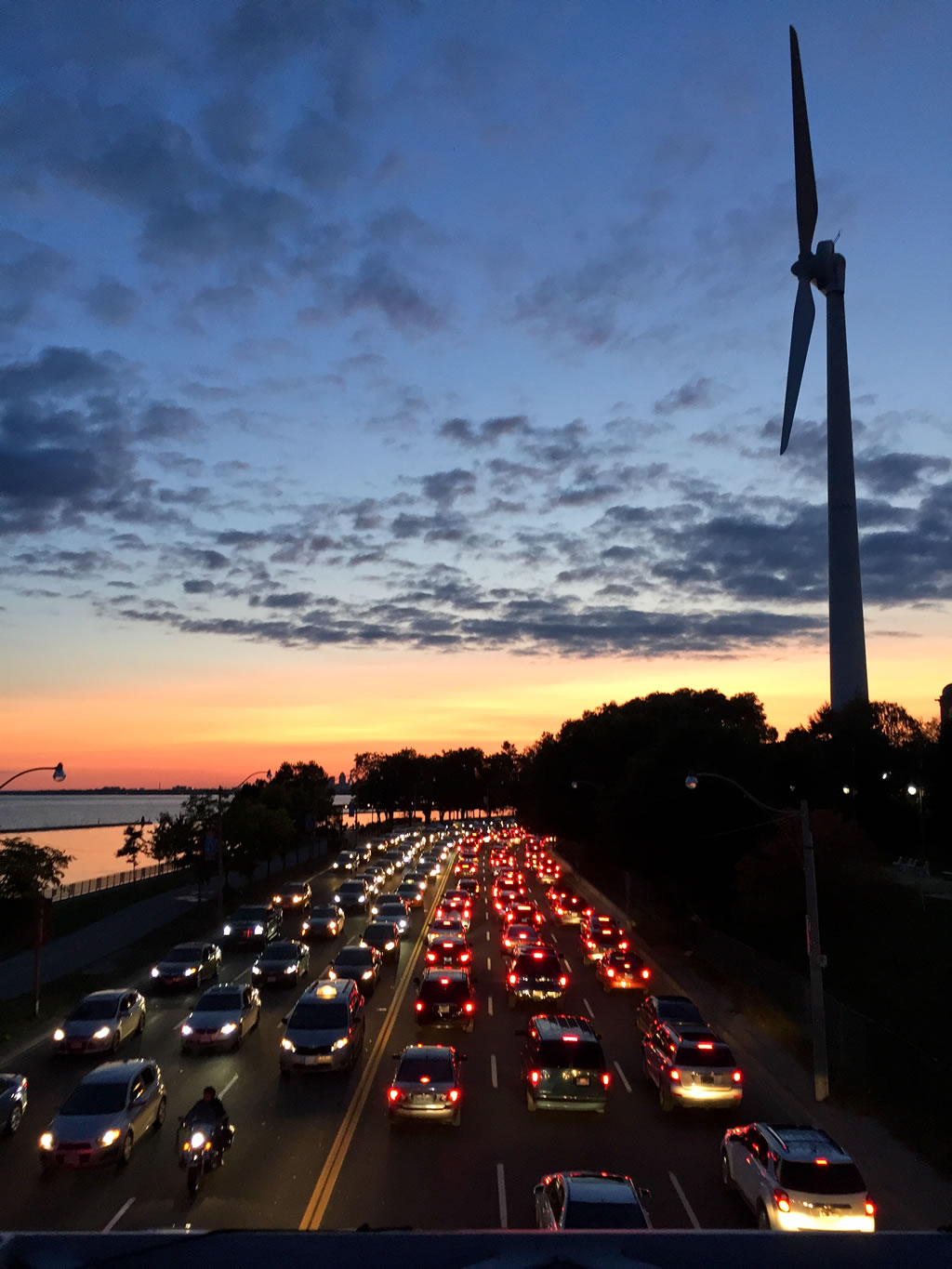 sunset time traffic jam photograph